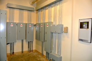 This industrial wiring project near Detroit involved six, wall-mounted panel upgrades.