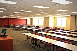 From the teacher's perspective, this shot of a classroom showcases the ideal blend of man-made and natural lighting.