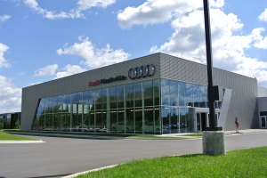 This Audi dealership near Detroit, MI called Rains Electric Company for their showroom lighting needs.