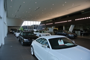 This dealership's lighting scheme exhibits a collection of white and black vehicles.