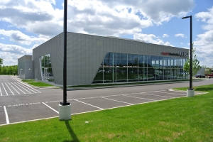 Outside view of a Audi dealership near Detroit. This location hired Rains Electric Company for their commercial lighting needs.