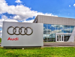Close, ground-level view of an Audi location in Detroit. Management employed Rains Electric Company for a recent lighting installation and upgrade.